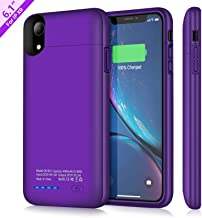 Battery Case for iPhone XR, TAYUZH 4000mAh Ultra-Slim Protective Portable Charging Case Compatible for iPhone XR Magnetic Battery Case Rechargeable Power Bank Case - Support Wired Headphones (Purple)
