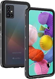 Lanhiem Hülle Kompatibel mit Samsung Galaxy A51, IP68 Wasserdicht 360 Grad Handyhülle A51 Schutzhülle, Stoßfest Staubdicht Schneefest Outdoor Panzerhülle mit Eingebautem Displayschutz, Schwarz
