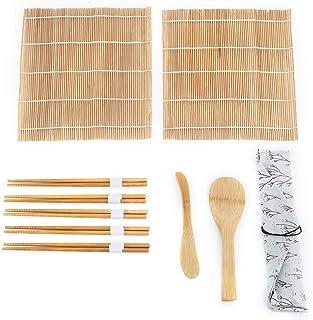 9 Stück/Set Bambus Sushi Making Kit, 2 Rollmatten 5 Essstä