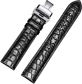 EHHE ZPF Alligator Leathe Watch Strap Deployment Buckle for Men Watch`s Band and Women`s Watch Band 18mm-24mm