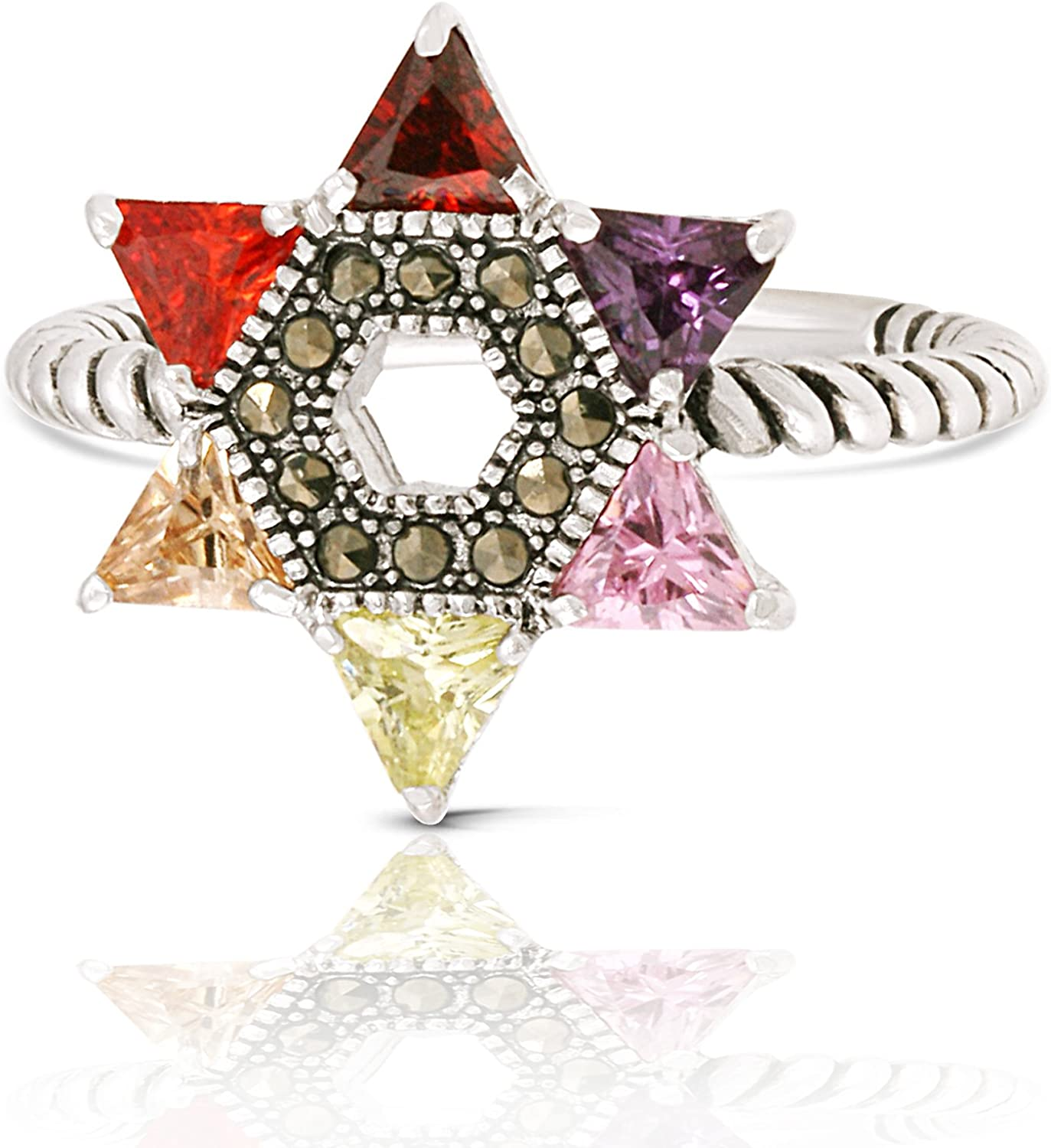 JanKuo Gorgeous Jewelry Rhodium Plated Multicolor Over item handling S Jewish Zirconia Cubic