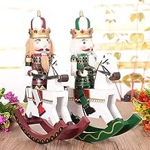 CUTICATE 2PCS Xmas Holiday Wooden Rocking Horse Nutcracker Home Ornament Collectibles