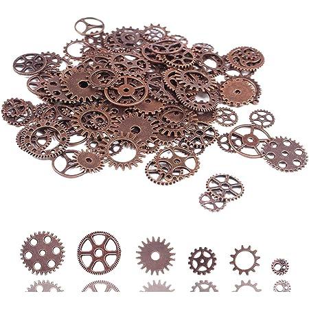 BIHRTC 100 Gram Antiqued Red Copper Metal Skeleton Steampunk Watch Gear Cog Wheel Sets Steampunk Gear Charms Pendant Watch Wheel Cog Crafting Jewelry Making Accessory Handmade Cosplay