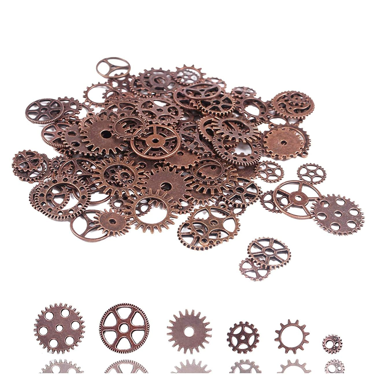 100 Gram Antiqued Red Copper Metal Skeleton Steampunk Watch Gear Cog Wheel Sets Steampunk Gear Charms Pendant Watch Wheel Cog Crafting Jewelry Making Accessory Handmade Cosplay