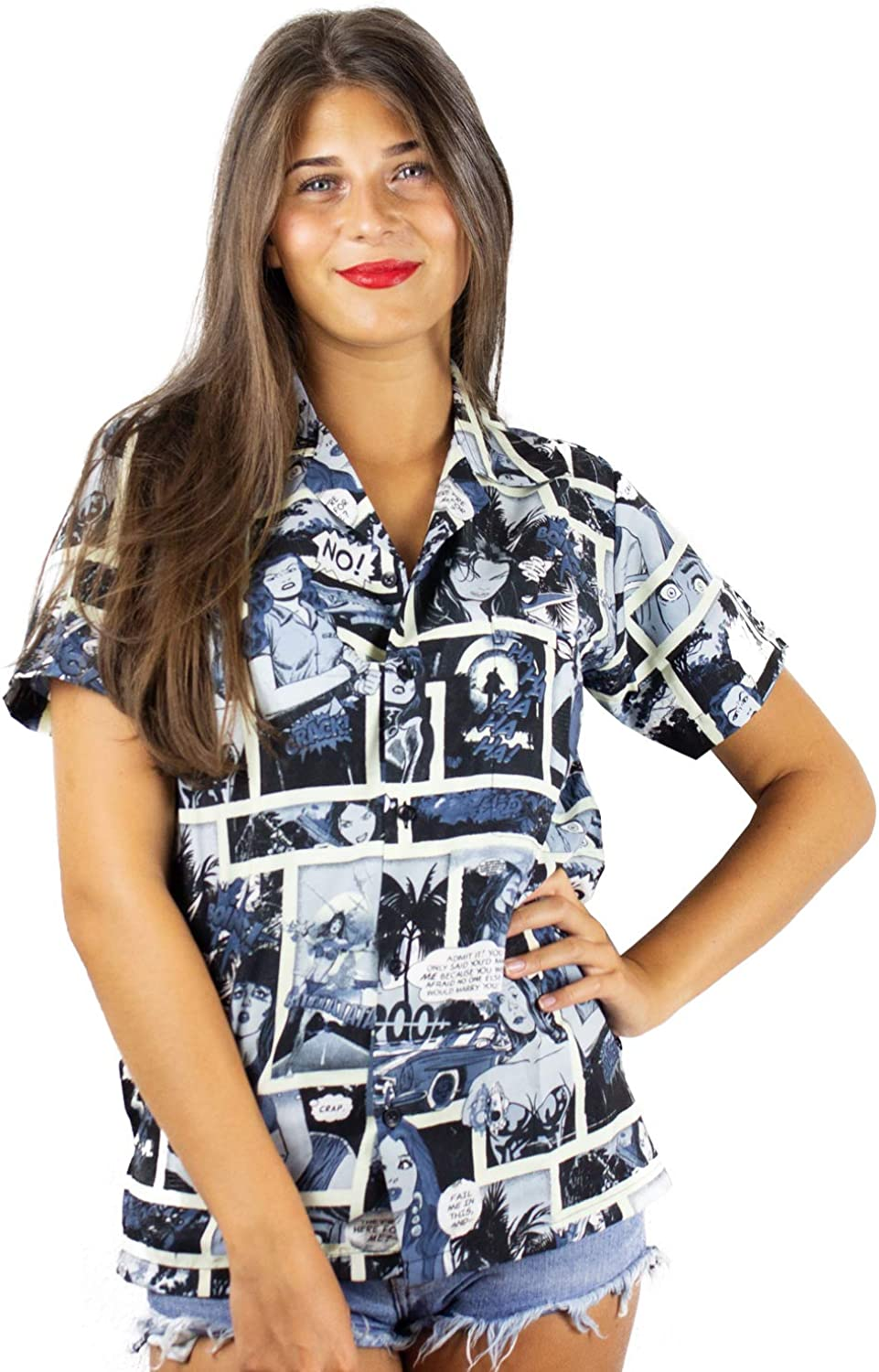 King Kameha Funky Hawaiian Blouse Shirt for Women Short Sleeve FrontPocket Comic Superhero Multiple colors