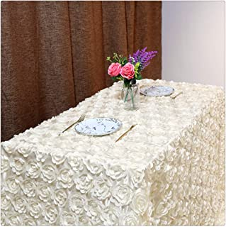 QueenDream Wedding Tablecloth Carpet Ivory 50 x80 Inches 3D Rose Flower Tablecloth Decoration Tablecloth Carpet