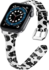 VASG Leather Bands Compatible with Apple Watch Bands 42mm 44mm, Slim Genuine Leather Band Replacement Strap Women Wristband Accessories Compatible with iWatch Series 6/5/4/3/2/1 SE