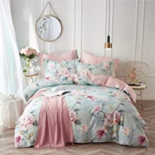 VClife Kid Bedding Sets Cotton Duvet Cover Sets Blue Pink Floral Garden Pattern Bedding Twin 1 Duvet Cover 2 Pillow Cases ...
