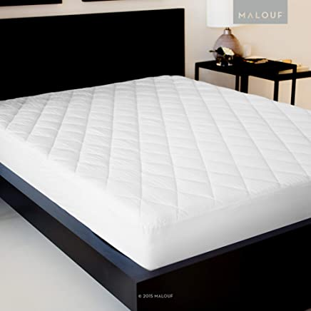 MALOUF Sleep TITE Quilted Mattress Pad with Soft Down Alternative Fill - Hypoallergenic - Twin