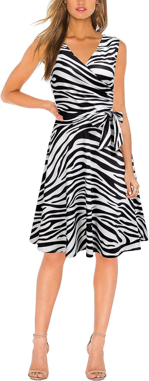 FORTRIC Women Sleeveless Belt Summer Work Casual Loose Swing Midi Dresses