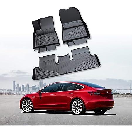 Ruiya Autofussmatten Auto Fußmatte Schwarz Auto Einfach Zu Säubern Tpo Material Hoher Rand Floor Mats Fussmatten Für Tesla Model 3 Auto