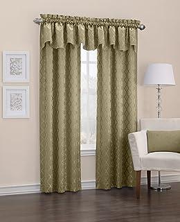 "Sun Zero Viviana Woven Trellis Thermal Lined Curtain Panel, 40"" x 18"", Taupe Brown"