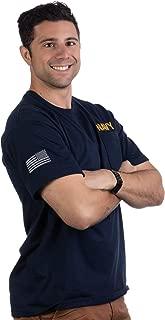 Navy Pocket Tee & U.S. Sleeve Flag | Military Naval Veteran Sailor Men T-Shirt