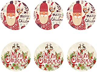 FOR U DESIGNS Christmas Santa Printed Drinks Coaster Set for Office Home Border Collie Cute Dog Coasters Set 6 Pieces Round Glass Cup Mug Mat