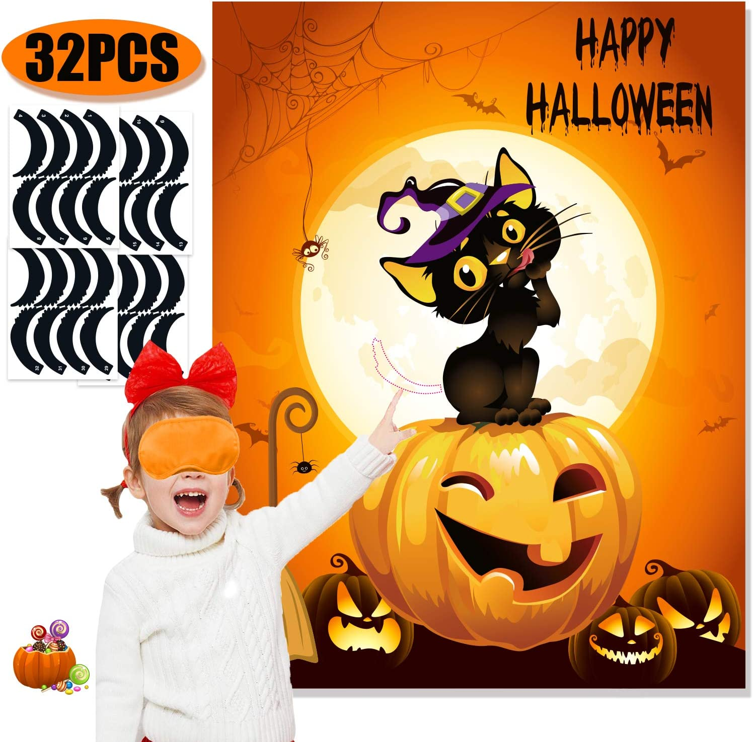 Buy Funnlot Halloween Party Games for Kids Pin The Tails on The ...