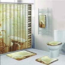 Bathroom 5 Piece Set shower curtain 3d print,Jazz Music Decor,Print of Piano Keys on Background with Musical Notes Image Nostalgia Jazz Theme,Golden Black,Bath Mat,Bathroom Carpet Rug,Non-Slip,Bath To