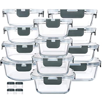 24-Piece Glass Food Storage Containers with Upgraded Snap Locking Lids,Glass Meal Prep Containers Set - Airtight Lunch Containers, Microwave, Oven, Freezer and Dishwasher