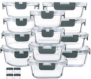 Récipient En Verre - Boîtes de Rangement Alimentaires en Verre - 24 pièces (12 récipients + 12 couvercles hermétiques) - s...