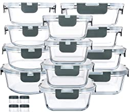 24-Piece Glass Food Storage Containers with Upgraded Snap Locking Lids,Glass Meal Prep Containers Set - Airtight Lunch Con...