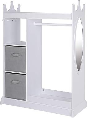 UTEX Kids Dress up Storage with Mirror and Storage Bin,Kids Play Armoire Dresser with Mirror,Kids Costume Organizer, Pretend