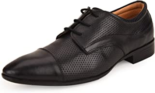 Escaro Everyday Wear Men's Genuine Leather Black Formal Derby Shoes