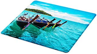 Lunarable Fishing Boat Cutting Board, Tropical Photo with Exotic Forest Island and Sea and Sky, Decorative Tempered Glass Cutting and Serving Board, Small Size, Multicolor