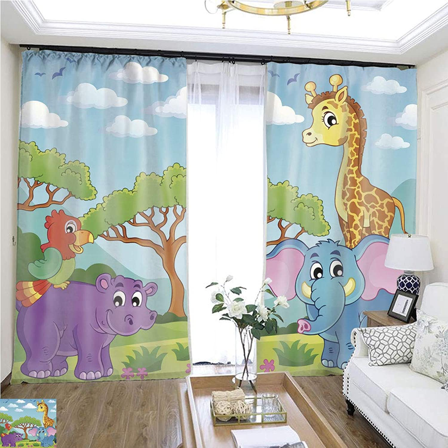 Air Port Screen Cute African Animals Theme Image 7 W96 x L204 Provide Heat Highprecision Curtains for bedrooms Living Rooms Kitchens etc.