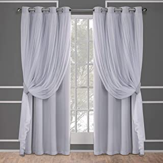 Exclusive Home Curtains Catarina Layered Solid Blackout and Sheer,Window, Curtain Panel Pair with Grommet Top, 52x96, Clou...
