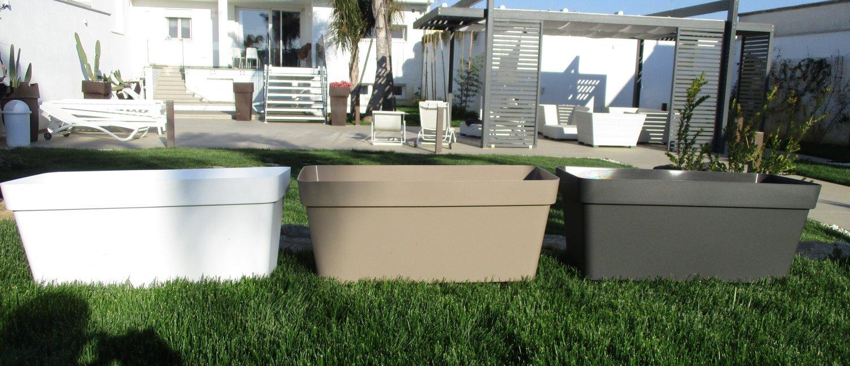 Veca - Macetero rectangular de jardín. Color: blanco. Anchura: 80 cm: Amazon.es: Hogar