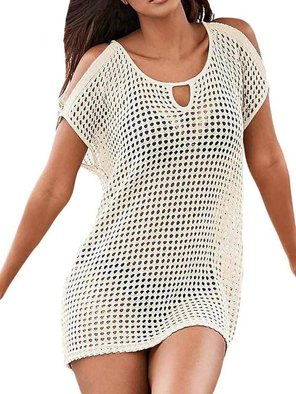 Bestyou Women's Crochet Mini Dress Knit Bathing Suit Bikini Swimsuit Cover Up Tunic Top Swimwear Beachwear