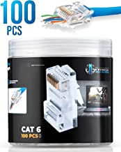 RJ45 Cat6 Pass Through Connectors 100 pcs | EZ Crimp Connector UTP Network Plug for Unshielded Twisted Pair Solid Wire & Standard Cables | Transparent Passthrough Ethernet Insert