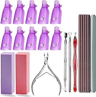 Kit de Herramientas Removedor de Esmalte de Uñas10 pcs Clip Uñas de Plastico Kit Profesional para Limpiar Uñas y Quitar ...