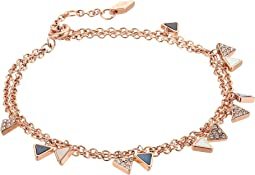 Fossil - Double Strand Chain Bracelet with Mother of Pearl Triangles