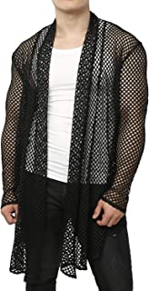 Men's Mesh Fishnet Cardigan Fitted Muscle Top