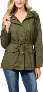 Womens Military Safari Utility Fashion Hoodie Anorak Jacket