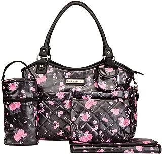 Laura Ashley 6 in 1 Floral Tote Diaper Bag, Black