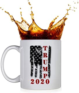 KROPSIS Trump 2020 Vintage Flag Ceramic Coffee Mug White