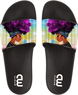 Cute African Ethnic Women with Purple Hair Summer Slide Slipper for Women Indoor Outdoor Sandal Shoes