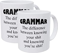 Willcallyou Pack of 2 Grammar, the Difference Between Knowing Your Job 11 Ounces Funny White Coffee Mug