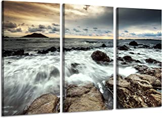 Hardy Gallery Rocky Beach Canvas Wall Artwork: Coastal Art Painting Print on Canvas for Bedroom Living Rooms (26'' x 16'' x 3 Panels)