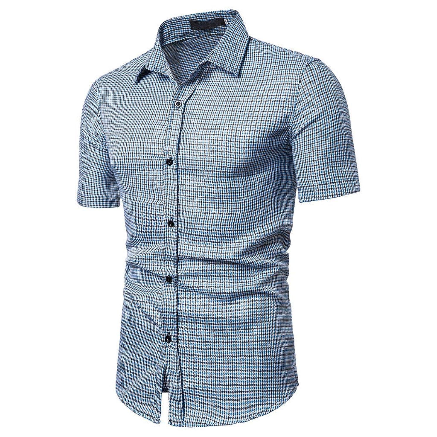 JJLIKER Men's Regular-Fit Short-Sleeve Plaid Shirt Casual Business Button Down Shirts Classic Formal Tops