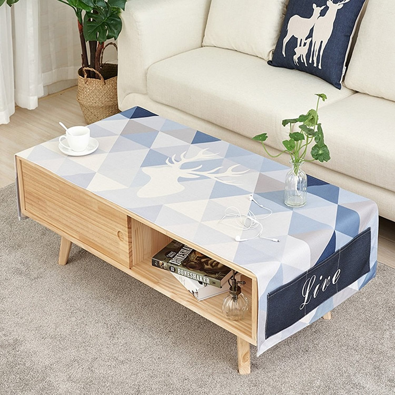 Motif de cerf bleu géométrique nappe de lin épais de coton nordique de style moderne nappe de table à café nappe double conception de poche latérale ( Taille   60170cm )