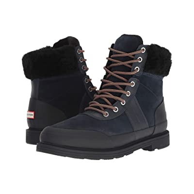 Hunter Insulated Leather Commando Boots (Navy/Black) Women