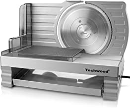 "Techwood Meat Slicer Electric Deli Food Slicer Cheese Bread Fruit Cutter 6.7"" Removable Blade, Aluminum Alloy Track Platform, Adjustable Knob for Thickness, Food Tray& Pusher, Commercial& Home Use"