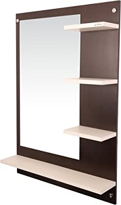 Anikaa Glass Wall Mirror (60 x 13 x 80 cm, Wenge & White)