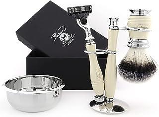Męski zestaw do golenia Haryali London – zestaw do golenia nabojowego dla mężczyzn, zawiera syntetyczny pędzel do golenia ...