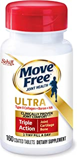 Type II Collagen, Boron & HA Ultra Triple Action Tablets, Move Free (160 Count in A Bottle), Joint Health Supplement with Just 1 Tiny Pill Per Day to Promote Joint, Cartilage and Bone Health