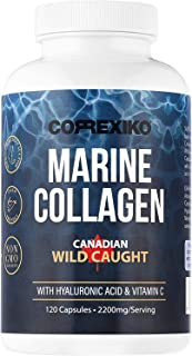 Marine Collagen Supplements by Correxiko | More Collagen with Less Capsules | with Hyaluronic Acid, Vitamin C & Minerals f...
