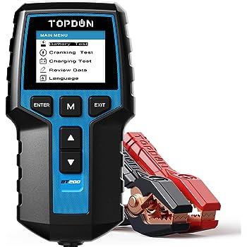 Car Battery Tester 12V 24V Load Tester, TOPDON BT200 100-2000CCA Automotive Alternator Tester Digital Auto Battery Analyzer Charging Cranking System Tester for Car Truck Motorcycle ATV SUV Boat Yacht