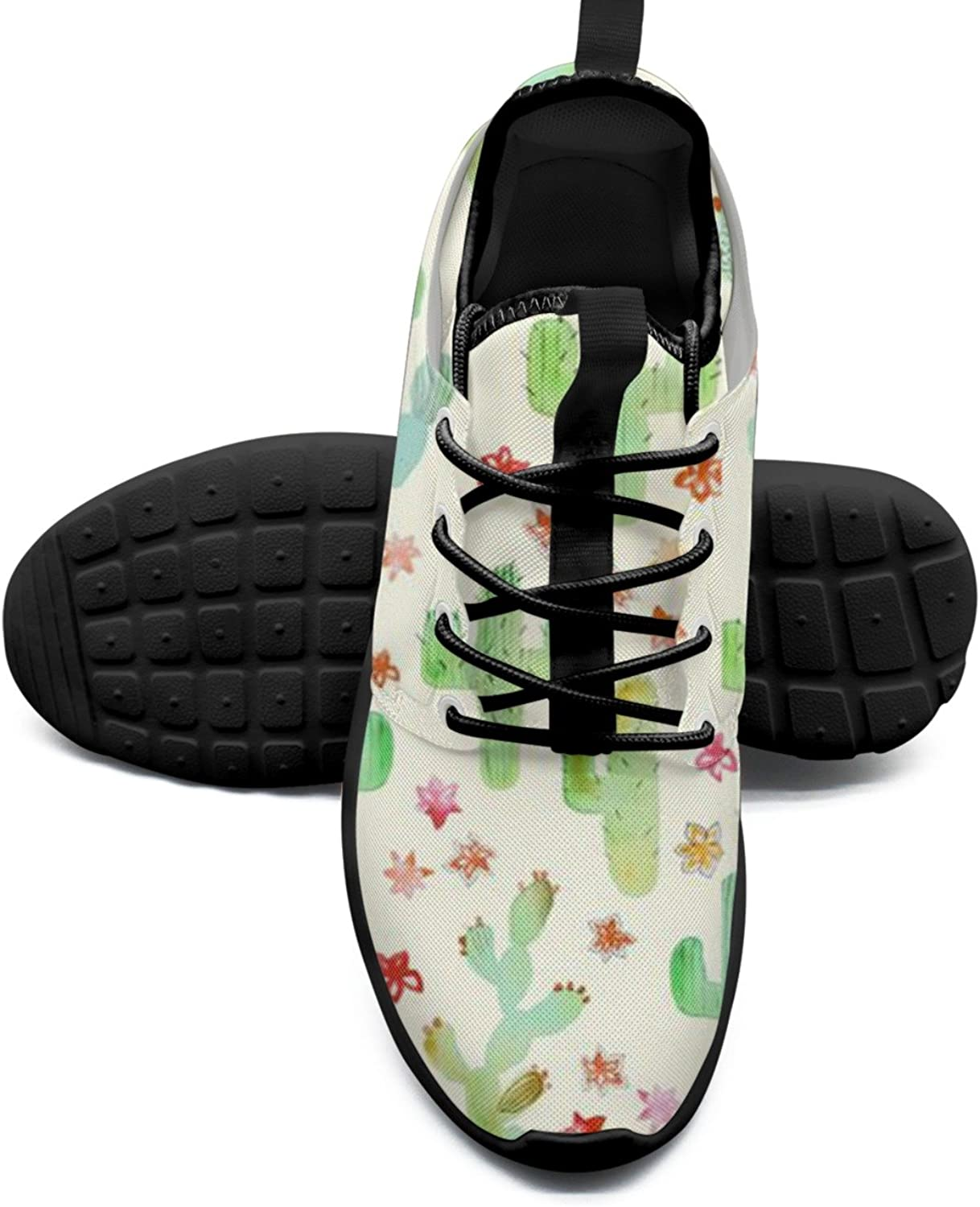 Cartoon Cactus And Flowers Cool Women's Tennis shoes Trendy Mesh Lightweight Sneakers